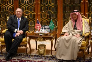 U S  Secretary of State Mike Pompeo meets with Saudi s Minister of State for Foreign Affairs Adel al-Jubeir upon his arrival in Riyadh  Saudi Arabia Andrew Caballero-Reynolds Pool via Reuters