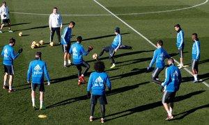El Madrid, durante el entrenamiento del 2 de enero.