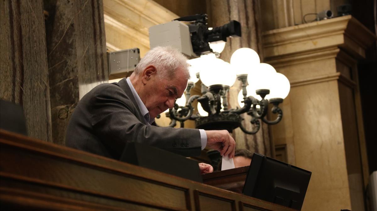 Ernest Maragall, en la sesión constitutiva del Parlament.