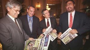 De izquierda a derecha, Joan Clos, Antonio Asensio,Xavier Triasy Antonio Franco, en 1997.