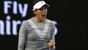 El grito de la victoria de Garbiñe Muguruza tras derrotar a Jessika Ponchet en Australia.