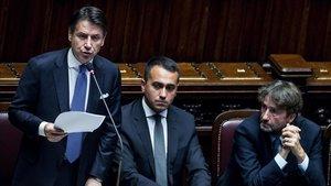 El primer ministro italiano, Giuseppe Conte, durante su intervención ante el Parlamento en Roma.