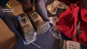 Hachís incautado en una operación de la Guardia Civil contra el narcotráfico en Málaga.