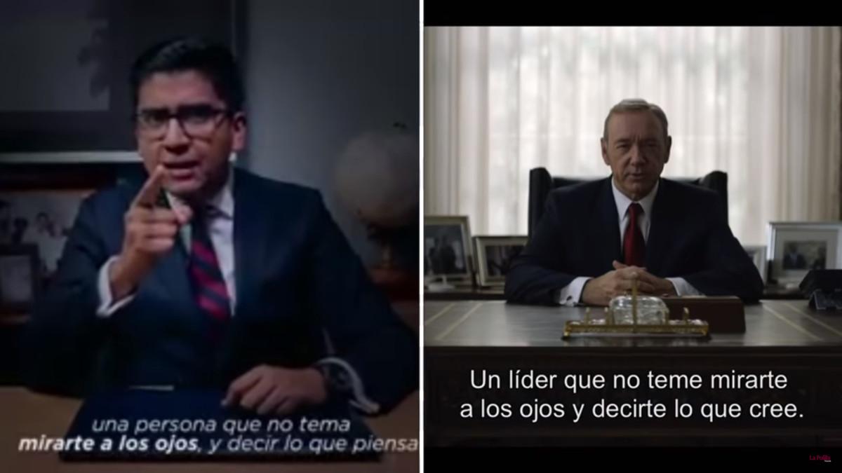 Comparación de los dos vídeos en los que se evidencía el plagio que unexalcalde mexicano ha hecho de un discurso de la serie de NetfixHouse of cards.