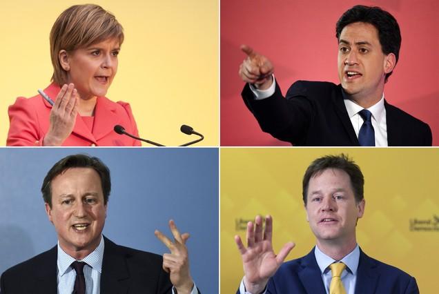 De izquierda a derecha y de arriba a abajo, Sturgeon, Miliband, Cameron y Clegg, los principales nombres de las elecciones en el Reino Unido.