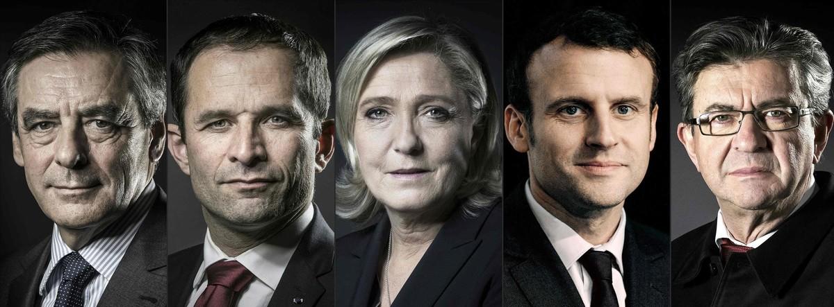 De izquierda a derecha, los candidatos al Elíseo: Fillon, Hamon, Le Pen, Macron y Mélenchon.