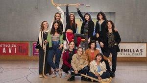 Las actrices de 'Les de l'hoquei', en el rodaje de la segunda temporada de la serie de TV-3.