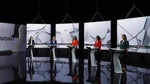 Las dirigentes de los principales partidos políticos, en el debate de La Sexta.