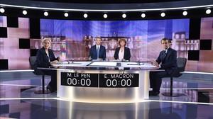 Macron y Le Pen, en el debate.