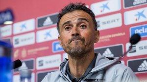Luis Enrique, en la comparecencia ante la prensa para dar la lista de la selección española.