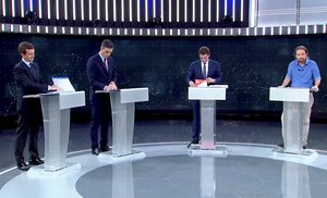 Candidates for Spanish general elections People s Party PP Pablo Casado Spanish Prime Minister and Socialist Workers Party PSOE Pedro Sanchez Ciudadanos Albert Rivera and Unidas Podemos Pablo Iglesias attend a televised debate ahead of general elections in Pozuelo de Alarcon outside Madrid Spain April 22 2019 TVE via REUTERS