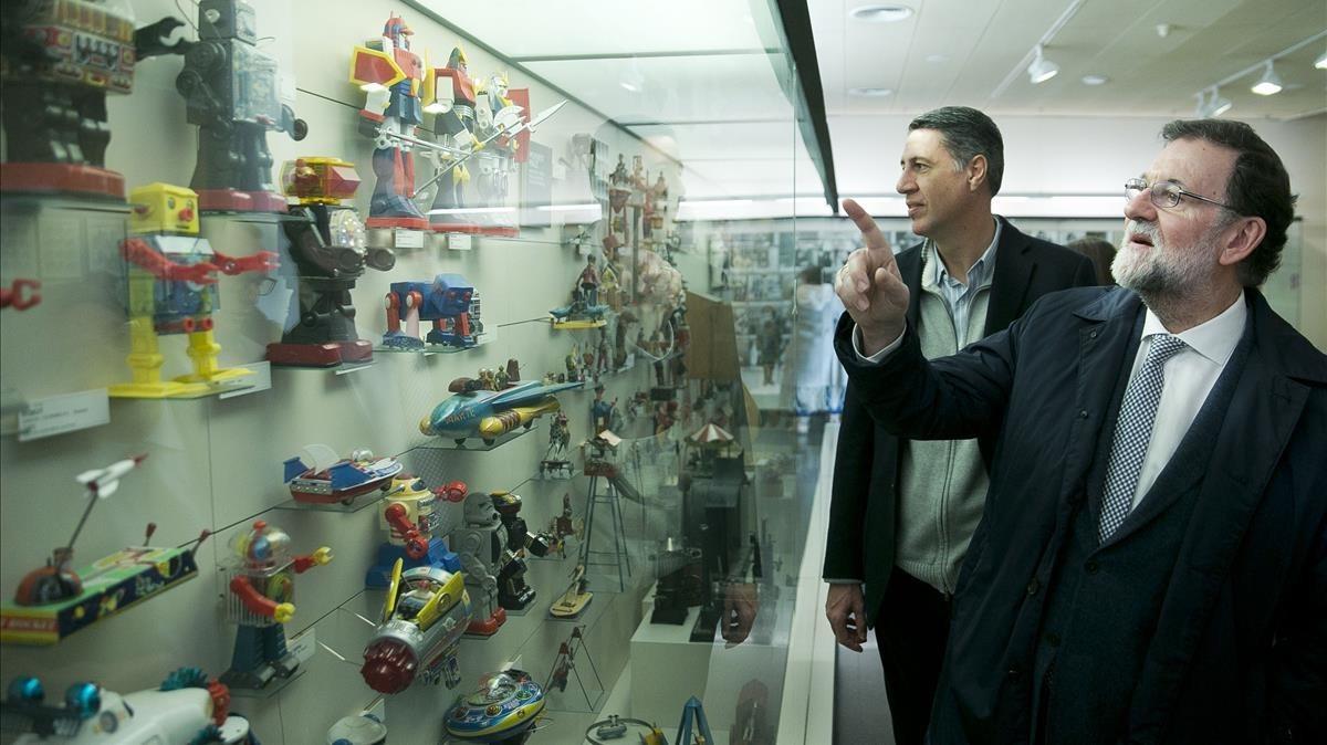 Mariano Rajoy y Xavier García Albiol en el Museu del Joguet de Figueres.