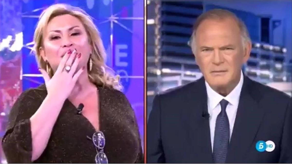Raquel Mosquera y Pedro Piqueras (Tele 5).