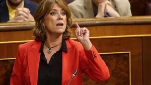 La ministra de Justicia,Dolores Delgado,durante una intervención en el Congreso.