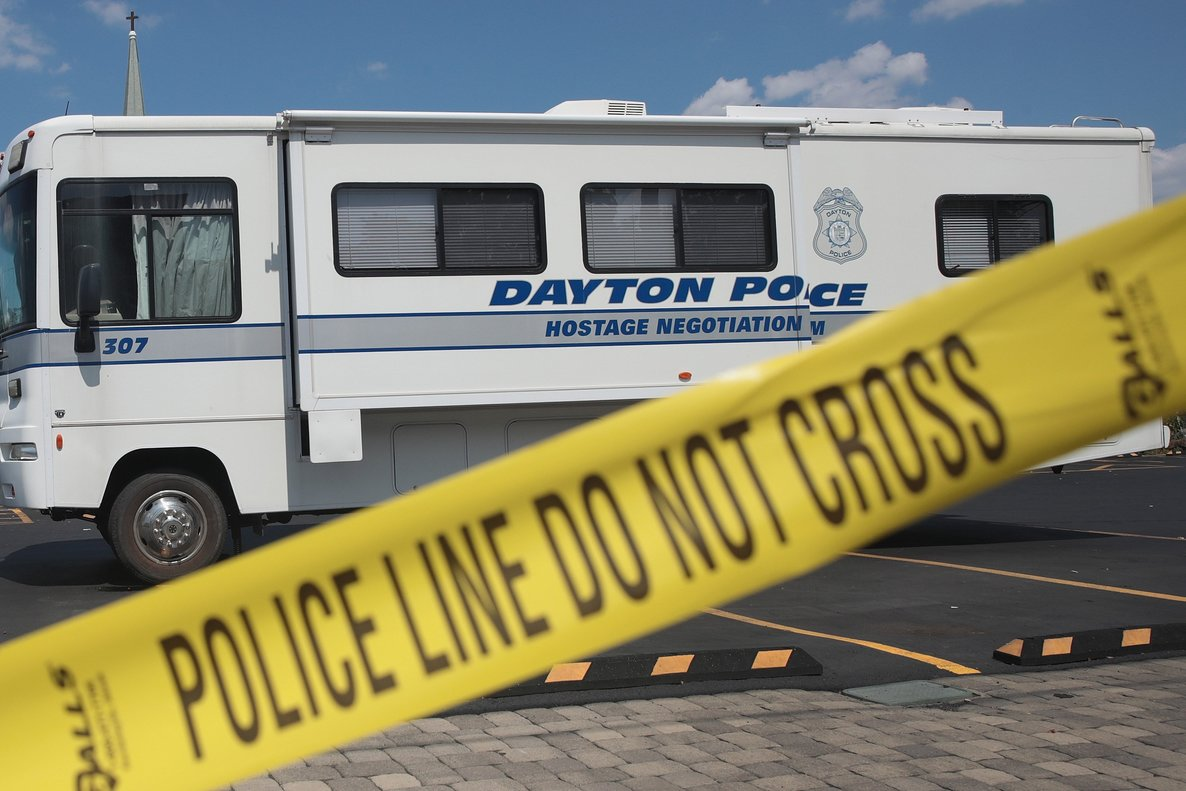 DAYTON OHIO - AUGUST 04 Police continue their investigation after a mass shooting in a popular nightlife district on August 04 2019 in Dayton Ohio At least 9 people were reported to have been killed and another 27 injured when a gunman identified as 24-year-old Connor Betts opened fire with a AR-15 style rifle The shooting comes less than 24 hours after a gunman in Texas opened fire at a shopping mall killing at least 20 people Scott Olson Getty Images AFP FOR NEWSPAPERS INTERNET TELCOS TELEVISION USE ONLY