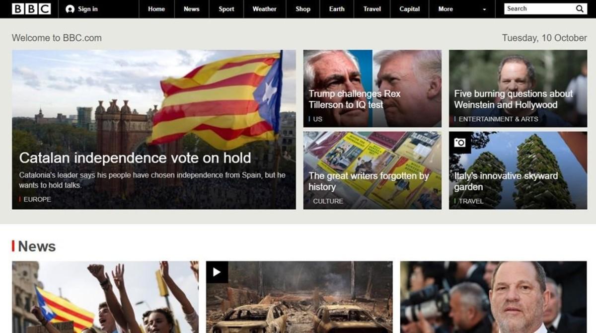 La página web de la BBC abre con Catalunya.
