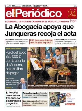 La portada de EL PERIÓDICO del 24 de diciembre del 2019.