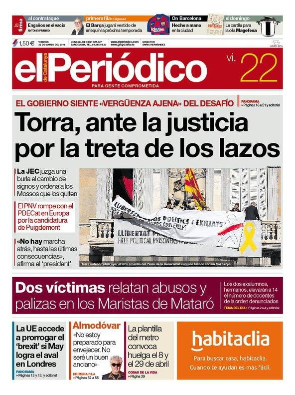 La portada de EL PERIÓDICO del 22 de marzo del 2019