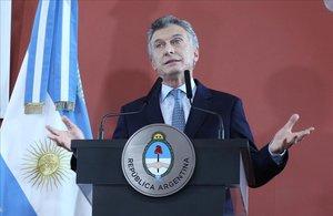El presidente argentino, Mauricio Macri, en una alocución desde la Casa Rosada de Buenos Aires.