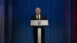 El presidente ruso, Vladímir Putin, durante un acto en Moscú el pasado domingo.