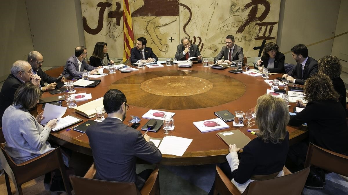 Reunión del Govern presidida por Quim Torra.