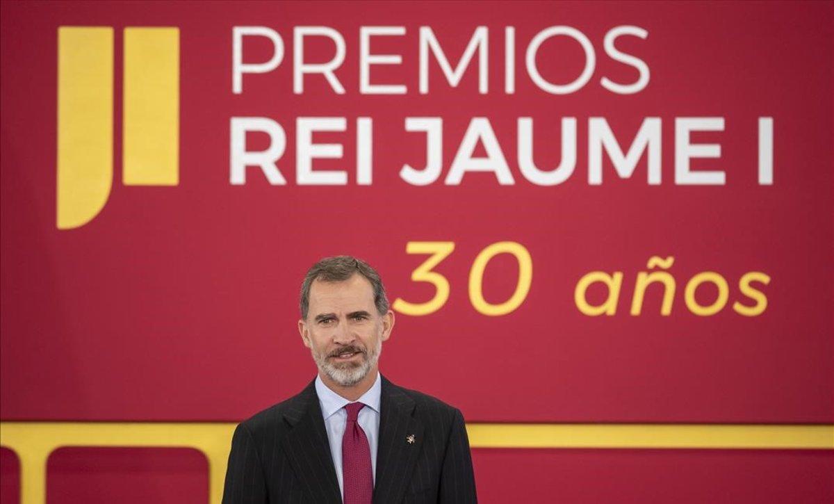 El rey Felipe VI en el acto de entrega de la 30ª edición de losPremios Rey Jaime I en València