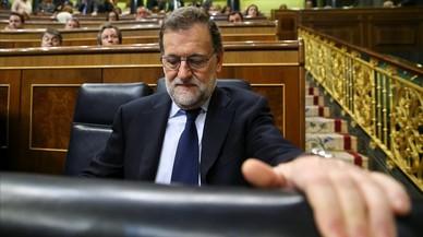 El presidente Rajoy, visiblemente afectado en el Congreso.