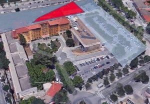 En rojo, la zona del Hospital de Viladecans que se derribará