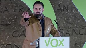 Santiago Abascal, líder de Vox, en el cierre de campaña de las elecciones 10-N.