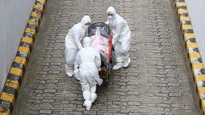 Tres sanitarios transportan a un paciente con coronavirus desde la ambulancia al hospital en Corea del Sur, este lunes.