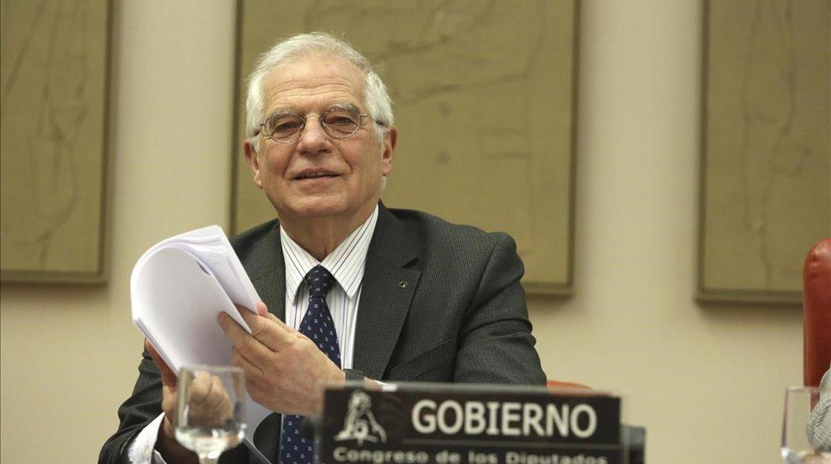 El ministro de Exteriores, Josep Borrell, compareciendo en la Comisión de Exteriores del Congreso de los Diputados