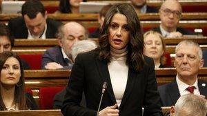 Ines Arrimadas, líder de Ciudadanos en Catalunya, este miércoles en el Parlament.