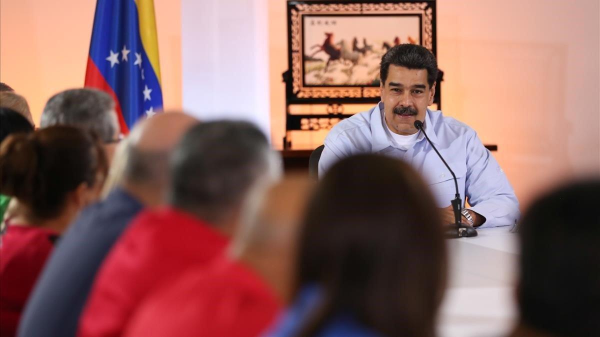 Maduro en un acto del Partido Socialista Unido de Venezuelaellunes en Caracas.