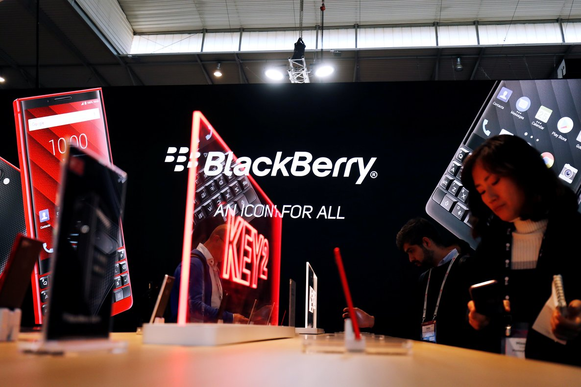 Visitors attend the Blackberry booth at the Mobile World Congress in Barcelona, Spain February 25, 2019. REUTERS/Rafael Marchante