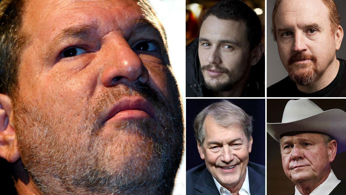 Harvey Weinstein, a la izquierda, el depredador de Hollywood, junto a otros negacionistas del #MeToo: James Franco, Louis C.K., Charlie Rose y Roy Moore.