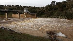 Crecida derío Tirteafuera, un afluente del Guadiana en Ciudad Real, que pasó en los últimosdías de estar prácticamente seco a alcanzar una punta de 45,8 metros cúbicos por segundo.