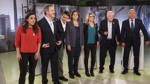 Los candidatos, en el debate de Betevé.