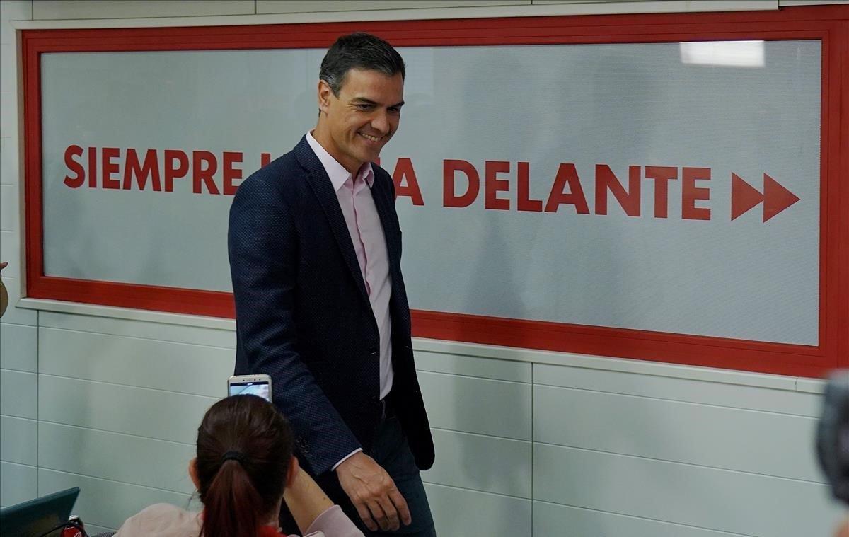 Pedro Sánchez, este domingo en la sede del PSOE.