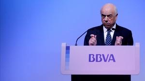 El presidente del BBVA, Francisco González, en la presentación de los resultados del 2013.