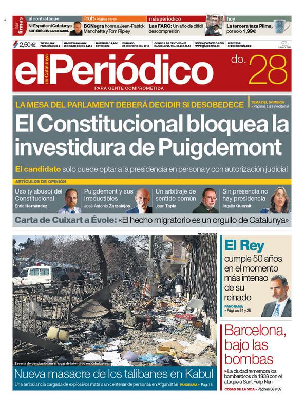 La portada de EL PERIÓDICO del 28 de enero del 2018