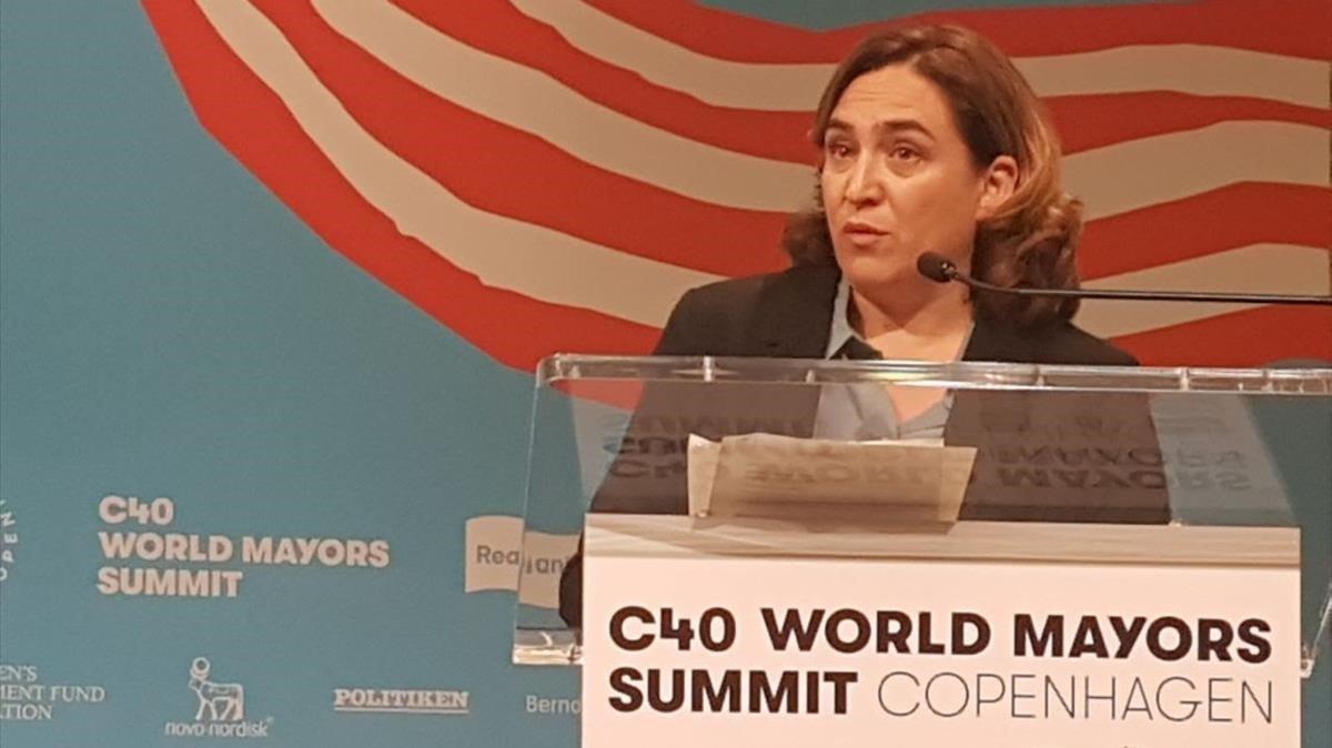 Ada Colau, en su intervención en la Cumbremundial de grandes ciudades comprometidas con la emergencia climatica en Copenhague