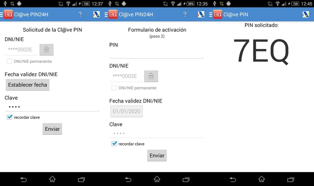 La aplicación para móviles Clave Pin.