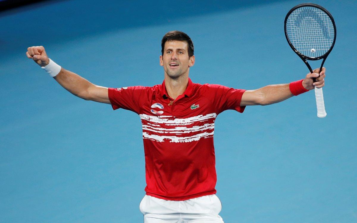Tennis - ATP Cup - Ken Rosewall Arena, Sydney, Australia - January 12, 2020 Serbia's Novak Djokovic celebrates after winning his Final singles match against Spain's Rafael Nadal REUTERS/Ciro De Luca