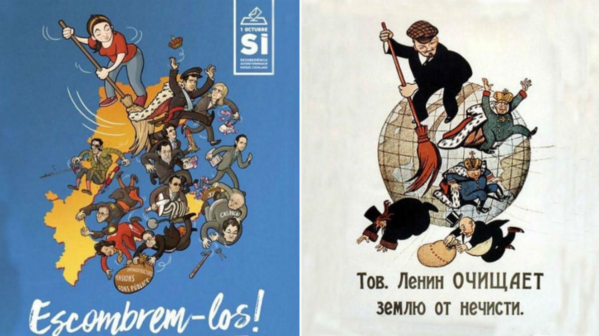 El cartel de la campaña de la CUP 'Barrámoslos', junto al de Lenin, en el que se inspira el de los 'cupaires'.
