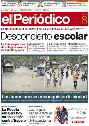 La portada d'EL PERIÓDICO del 8 de juny del 2020