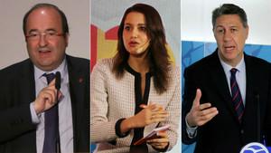 Miquel Iceta, Inés Arrimadas y Xavier García Albiol.