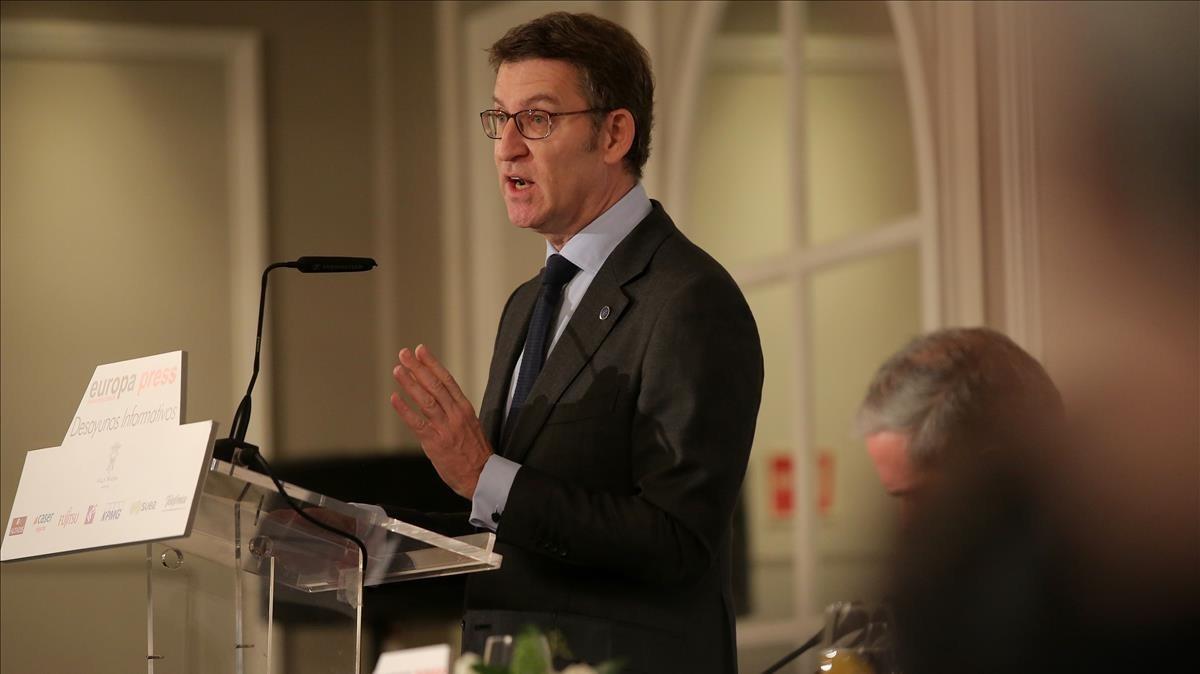 El presidente de la Xunta de Galicia, Nuñez Feijoo, en un acto de Europa Press.
