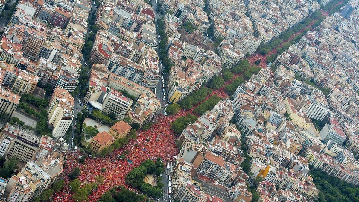 La Diagonal, durante la manifestación de Barcelona.