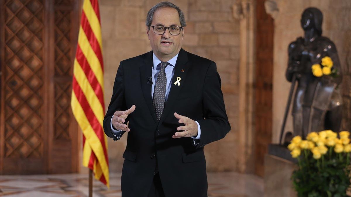Discurso institucional de Quim Torra con motivo de la 'diada' de Sant Jordi.