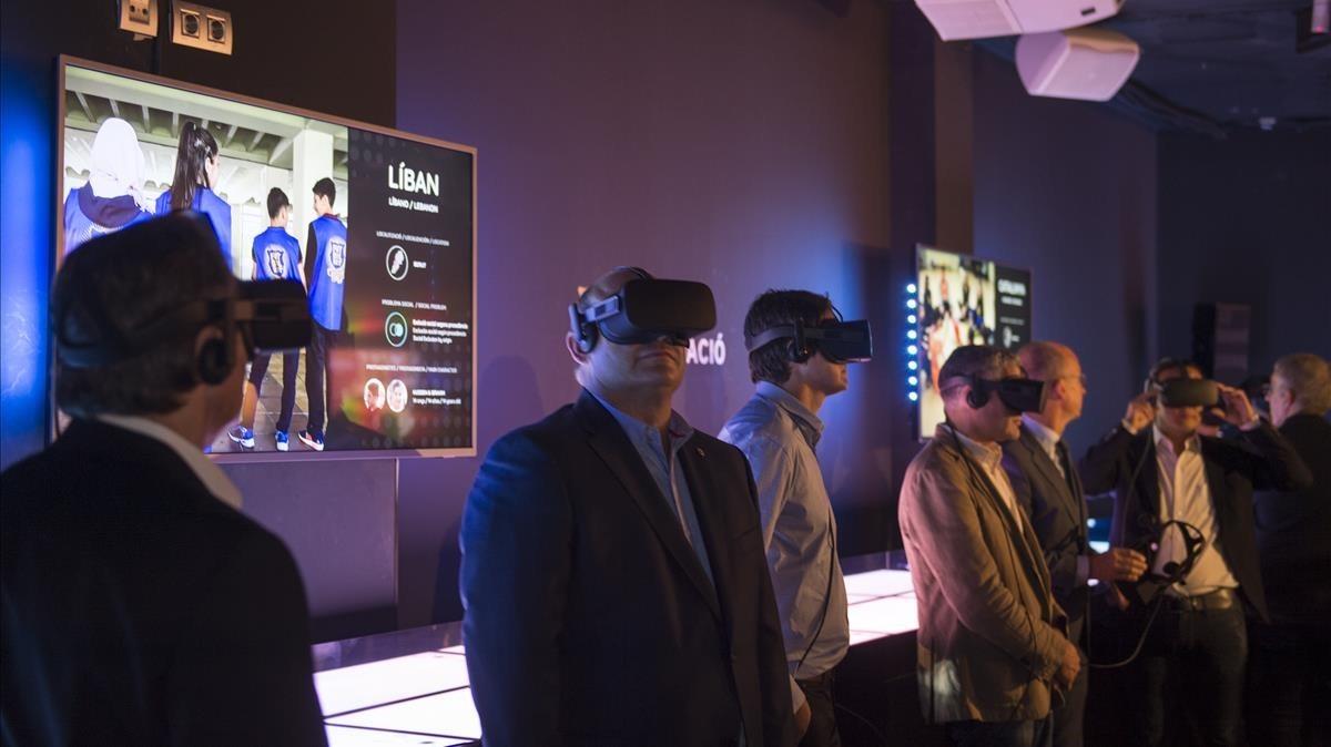 Un espacio de realidad virtual en el nuevo Espai Barça Fundació.